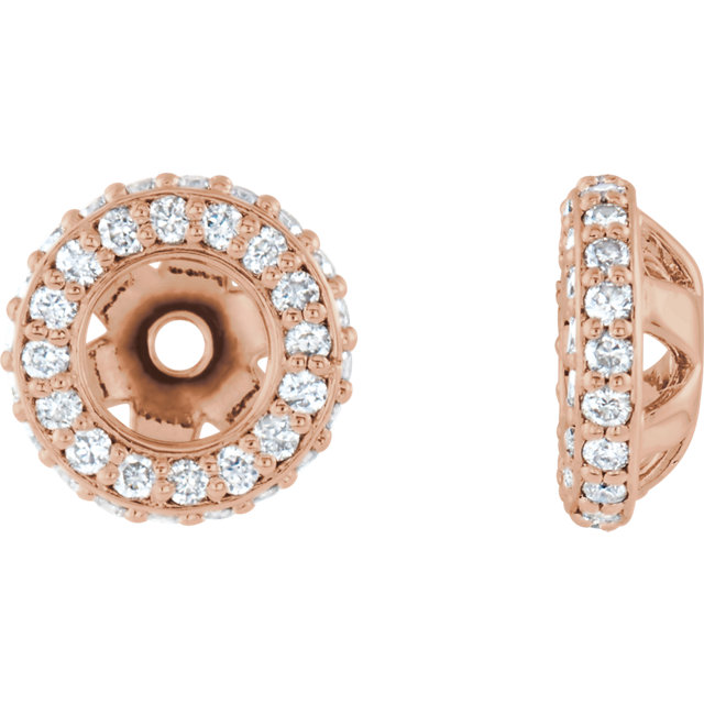 Great Gift in 14 Karat Rose Gold 0.20 Carat Total Weight Diamond Earring Jackets