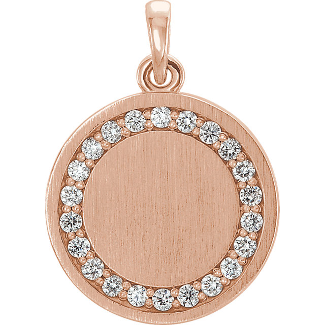 Buy 14 Karat Rose Gold 0.20 Carat Diamond Engravable Pendant
