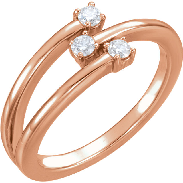 Jewelry in 14 KT Rose Gold 0.20 Carat TW Diamond Freeform Ring