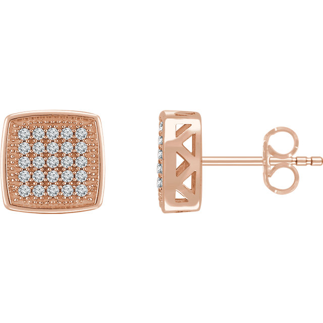 Eye Catchy 14 Karat Rose Gold 0.20 Carat Total Weight Diamond Geometric Earrings