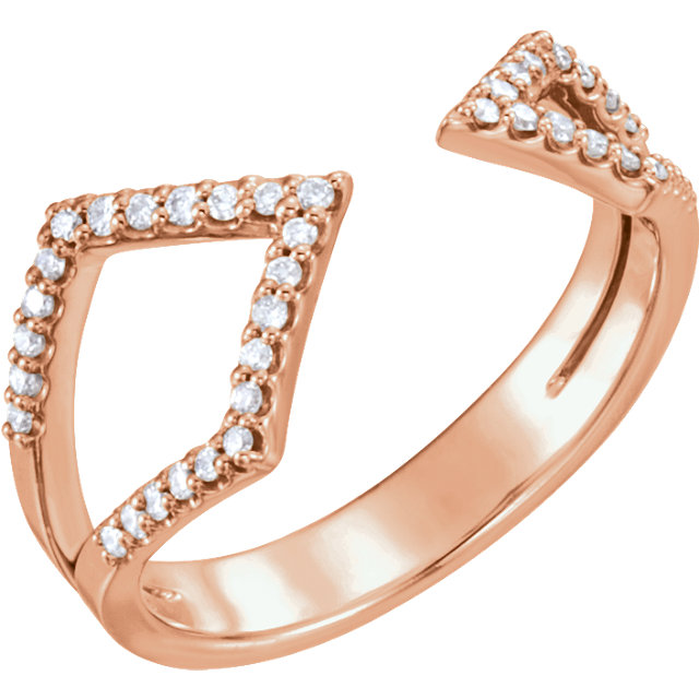 Quality 14 KT Rose Gold 0.20 Carat TW Diamond Geometric Ring