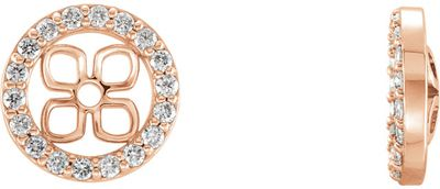 Stunning 14 Karat Rose Gold 0.20 Carat Total Weight Diamond Halo-Style Earring Jackets for Pearl