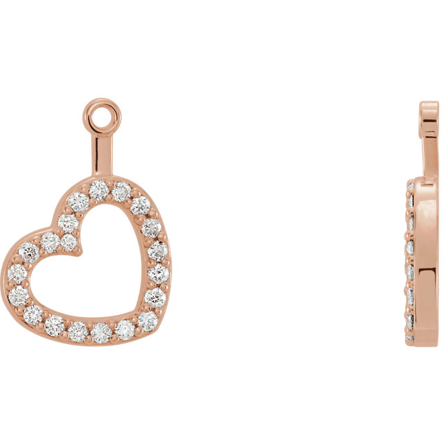 Low Price on Quality 14 KT Rose Gold 0.20 Carat TW Diamond Heart Earring Jackets