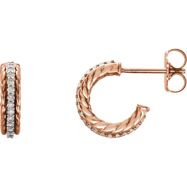 Perfect Gift Idea in 14 Karat Rose Gold 0.20 Carat Total Weight Diamond Hoop Earrings