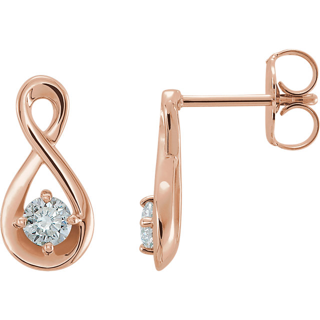 Contemporary 14 Karat Rose Gold 0.20 Carat Total Weight Diamond Infinity-Inspired Earrings