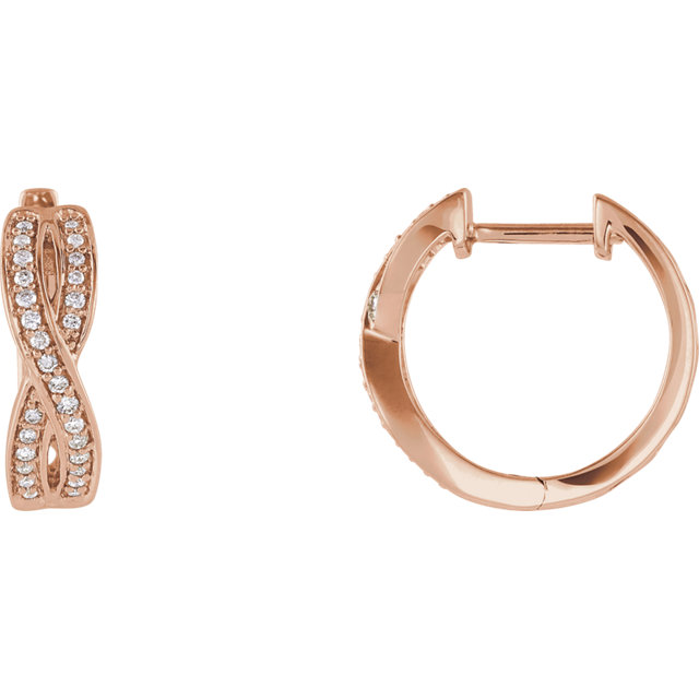 Wonderful 14 Karat Rose Gold 0.20 Carat Total Weight Diamond Infinity-Inspired Hoop Earrings