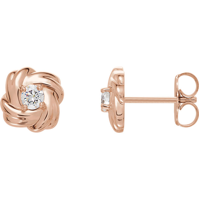 Perfect Jewelry Gift 14 Karat Rose Gold 0.20 Carat Total Weight Diamond Knot Earrings