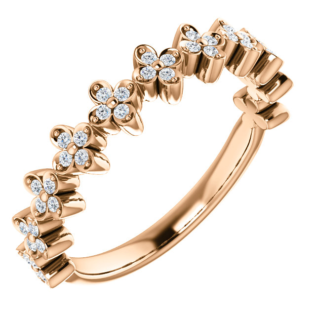 Surprise Her with  14 Karat Rose Gold 0.20 Carat Total Weight Diamond Stackable Clover Ring