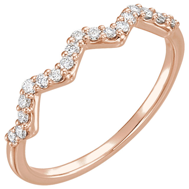 14 Karat Rose Gold 0.20 Carat Diamond Stackable Ring