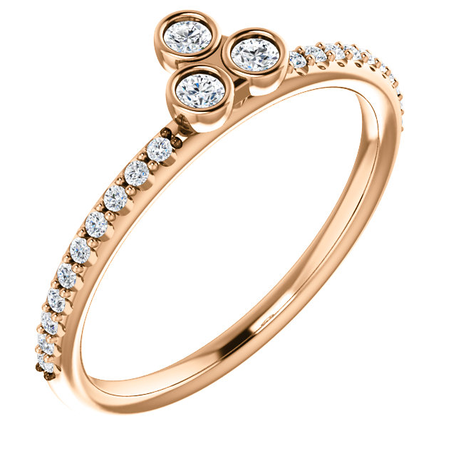 Fine 14 KT Rose Gold 0.20 Carat TW Diamond Three-Stone Asymmetrical Stackable Ring