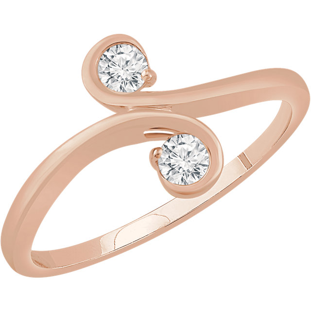 14 Karat Rose Gold 0.20 Carat Diamond Two-Stone Ring