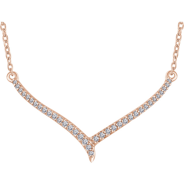 Appealing Jewelry in 14 Karat Rose Gold 0.17 Carat Total Weight Diamond