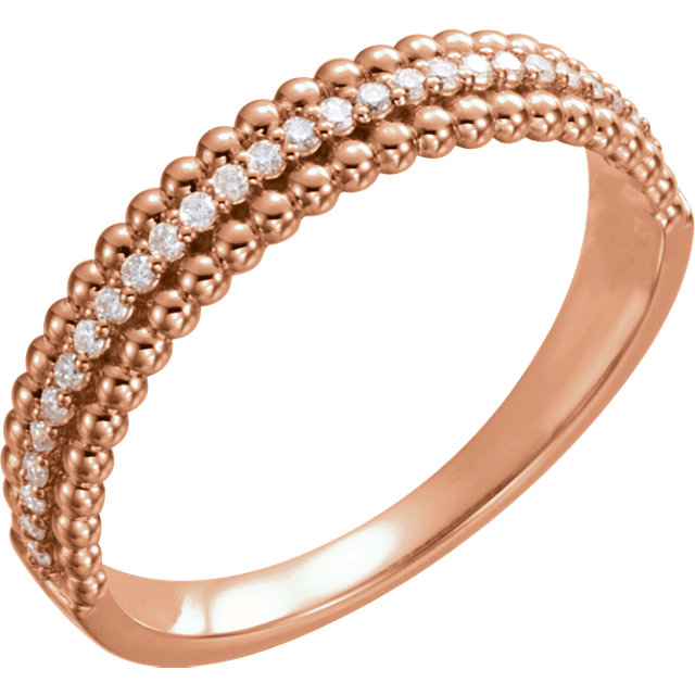 14 Karat Rose Gold 0.17 Carat Diamond Beaded Ring