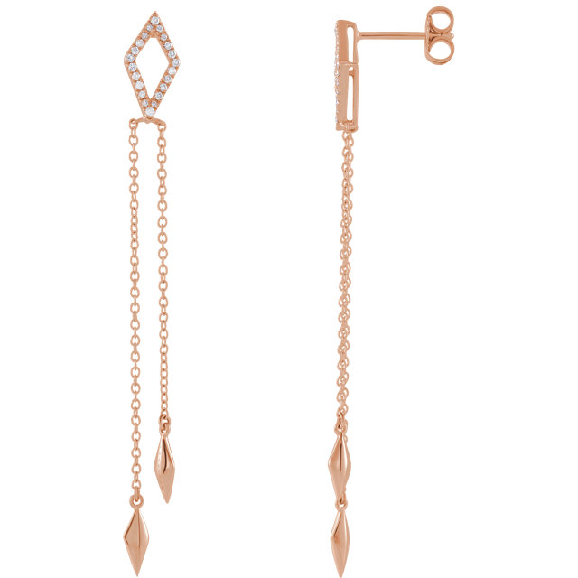 Great Buy in 14 Karat Rose Gold 0.17 Carat Total Weight Diamond Chain Earrings
