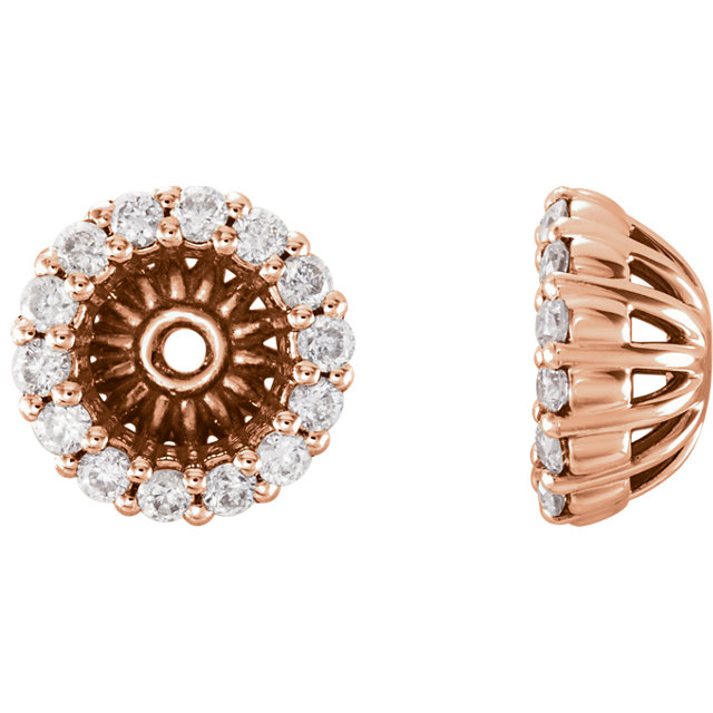 Great Deal in 14 Karat Rose Gold 0.17 Carat Total Weight Diamond Cluster Earring Jackets