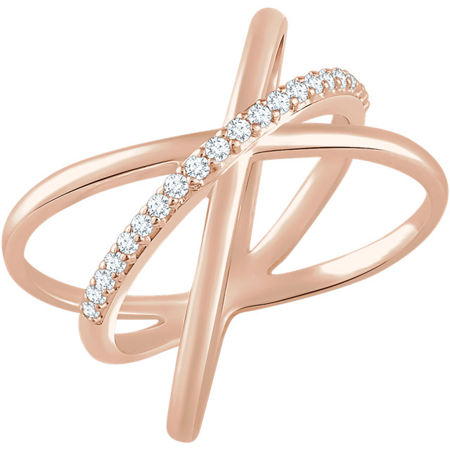 Buy 14 Karat Rose Gold 0.17 Carat Diamond Criss-Cross Ring