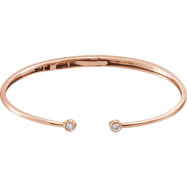 Remarkable 14 Karat Rose Gold 1/6 Carat Total Weight Round Genuine Diamond Hinged Cuff Bracelet