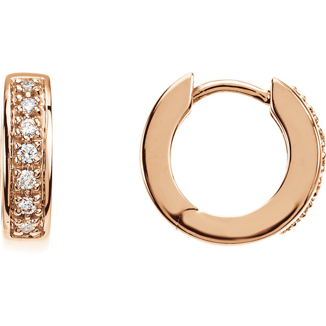 Perfect Gift Idea in 14 Karat Rose Gold 0.17 Carat Total Weight Diamond Hoop Earrings