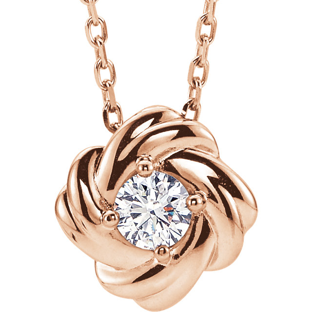 Easy Gift in 14 Karat Rose Gold 0.17 Carat Total Weight Diamond Knot 16-18