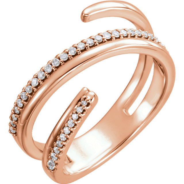 Genuine  14 Karat Rose Gold 0.17 Carat Diamond Negative Space Ring
