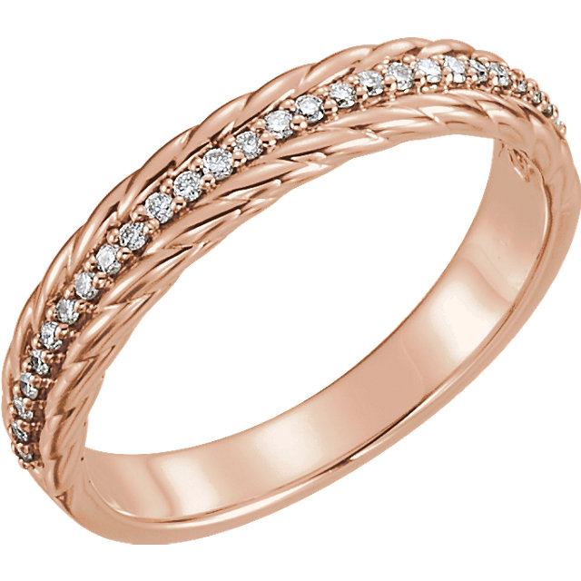 Genuine 14 Karat Rose Gold 0.17 Carat Diamond Rope Ring