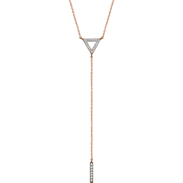 Must See 14 KT Rose Gold 0.17 Carat TW Diamond Triangle & Bar Y 16-18
