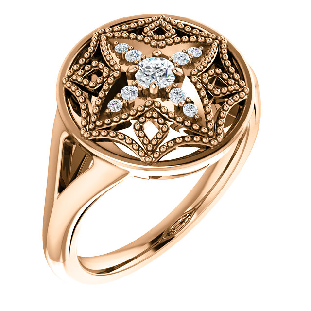 Low Price on 14 KT Rose Gold 0.17 Carat TW Diamond Vintage-Inspired Ring