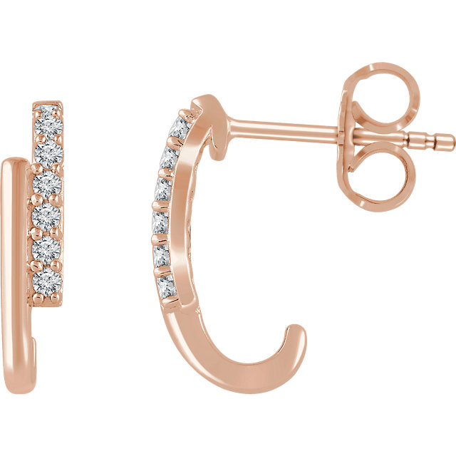 Great Gift in 14 Karat Rose Gold 0.12 Carat Total Weight Diamond Bar Earrings