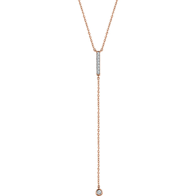 14 Karat Rose Gold 0.12 Carat Diamond Bar Y 16-18