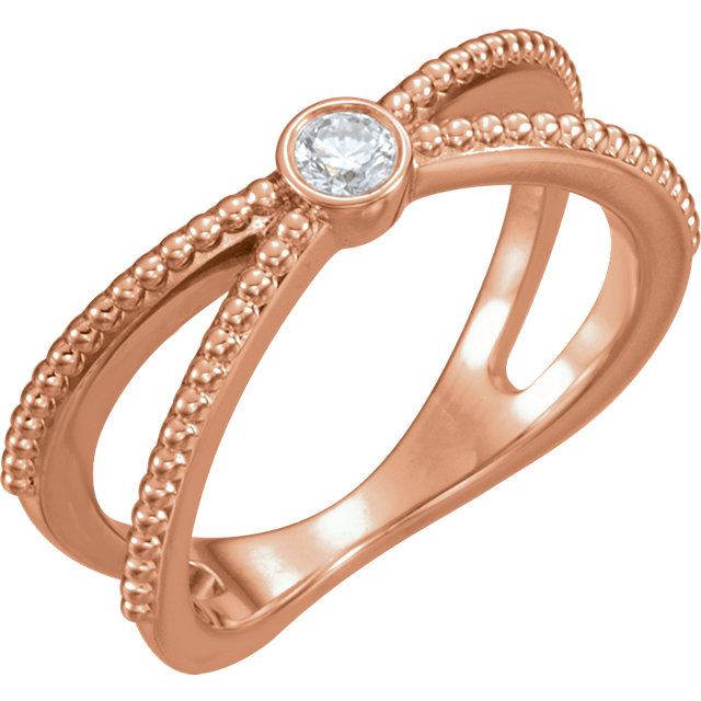 Shop Real 14 KT Rose Gold 0.12 Carat TW Diamond Bezel-Set Beaded Ring