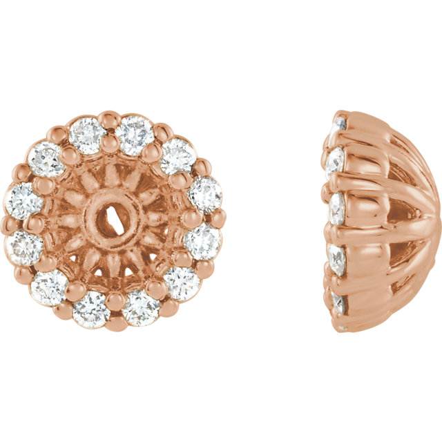 Fine Quality 14 Karat Rose Gold 0.12 Carat Total Weight Diamond Cluster Earring Jackets