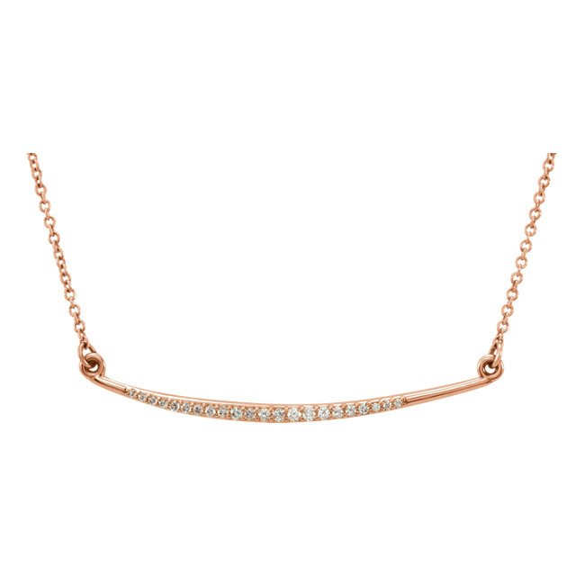 Contemporary 14 Karat Rose Gold 0.12 Carat Total Weight Diamond Curved Bar 16