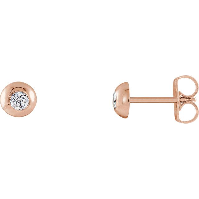 Wonderful 14 Karat Rose Gold 0.12 Carat Total Weight Diamond Domed Stud Earrings
