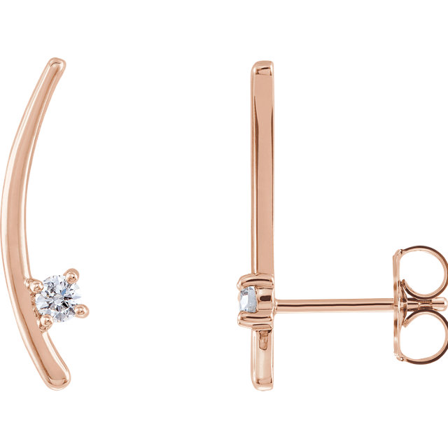 Eye Catchy 14 Karat Rose Gold 0.12 Carat Total Weight Diamond Ear Climbers