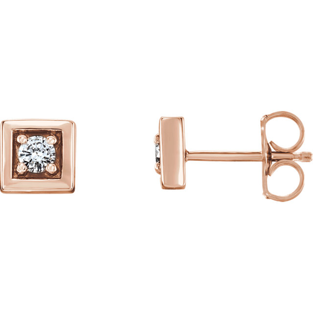 Beautiful 14 Karat Rose Gold 0.12 Carat Total Weight Diamond Earrings