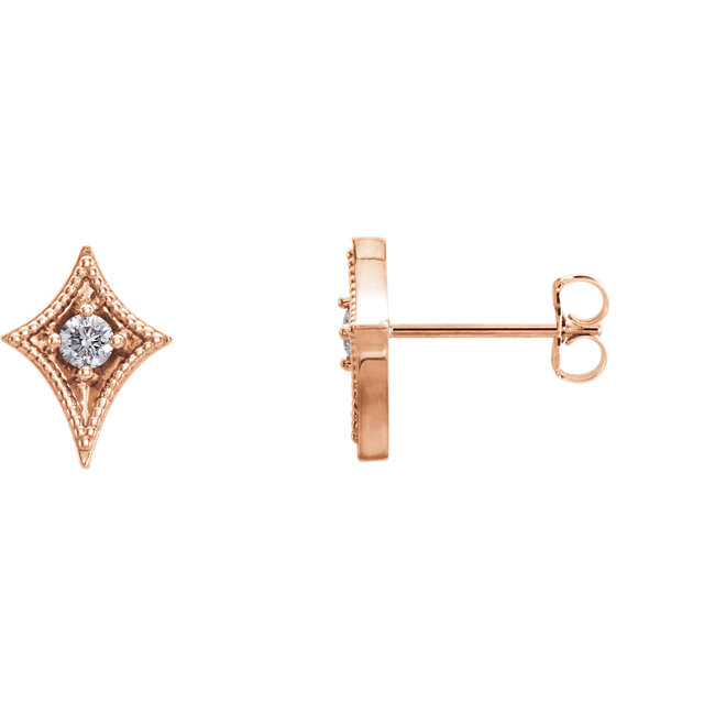 Great Gift in 14 Karat Rose Gold 0.12 Carat Total Weight Diamond Geometric Earrings