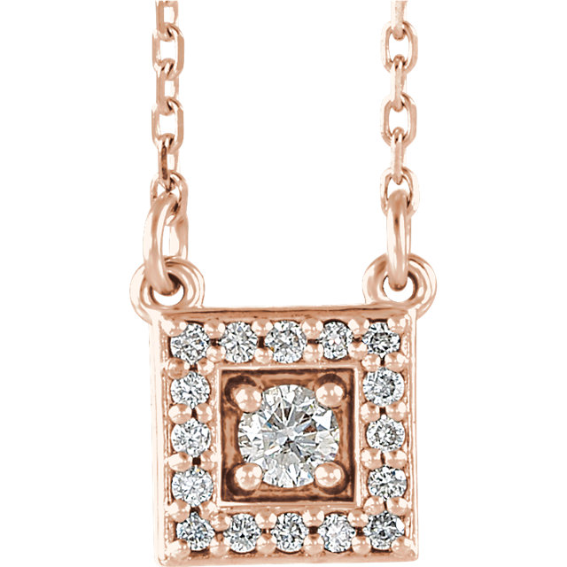 14 Karat Rose Gold 0.12 Carat Diamond Halo-Style Square 16-18