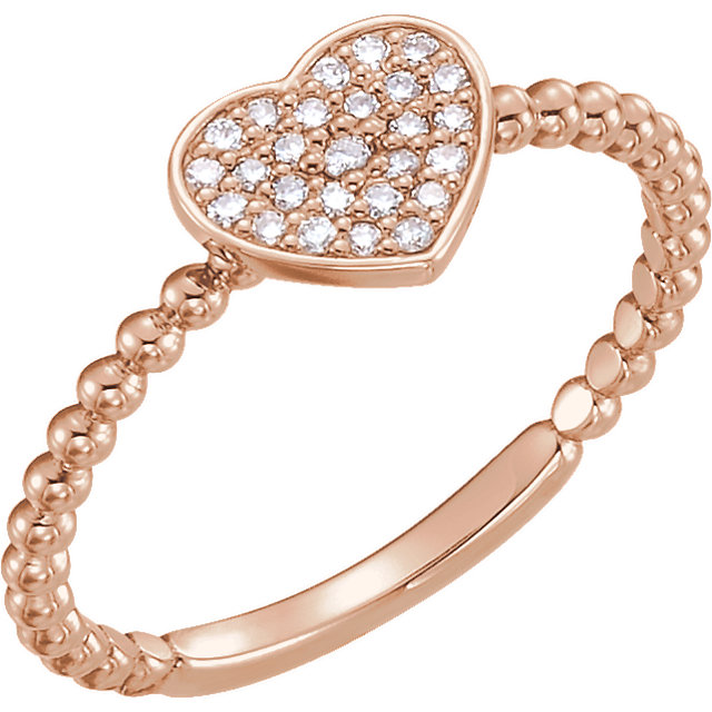 White Diamond Ring in 14 Karat Rose Gold 0.12 Carat Diamond Heart Bead Ring