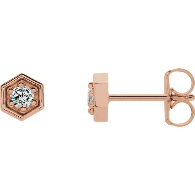 Great Deal in 14 Karat Rose Gold 0.12 Carat Total Weight Diamond Hexagon Stud Earrings