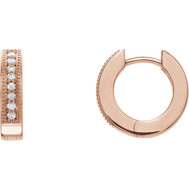 Contemporary 14 Karat Rose Gold 0.12 Carat Total Weight Diamond Hoop Earrings with Milgrain