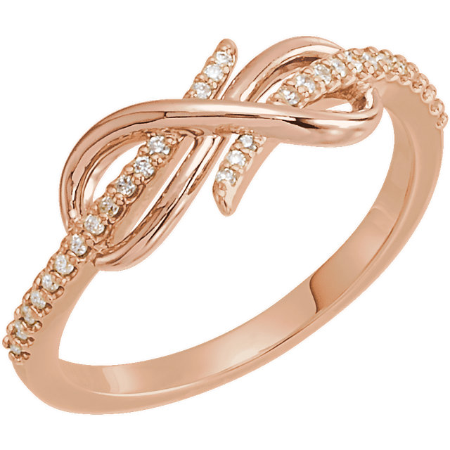 14 KT Rose Gold 0.12 Carat TW Diamond Infinity-Inspired Ring