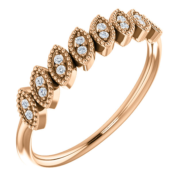 Buy 14 Karat Rose Gold 0.12 Carat Diamond Leaf Ring