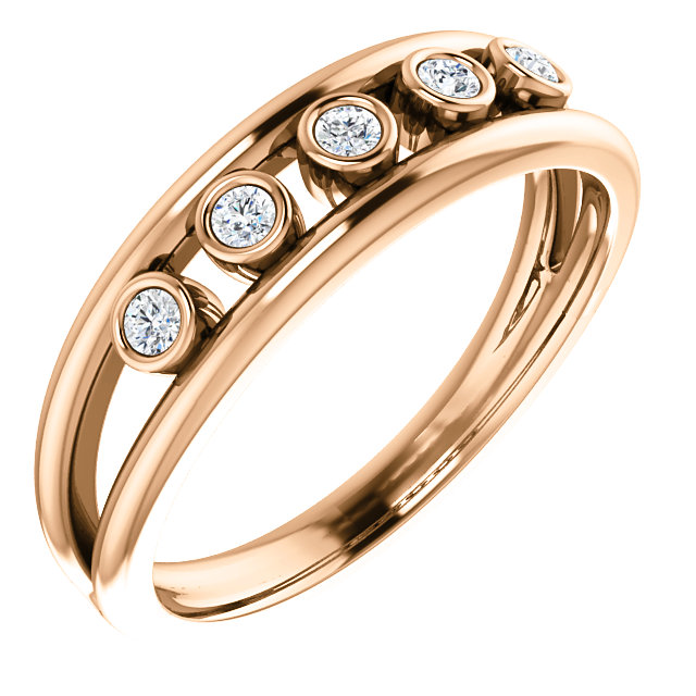 Jewelry Find 14 KT Rose Gold 0.12 Carat TW Diamond Negative Space Ring