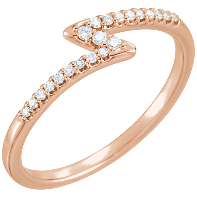 14 Karat Rose Gold 0.12 Carat Diamond Stackable Ring