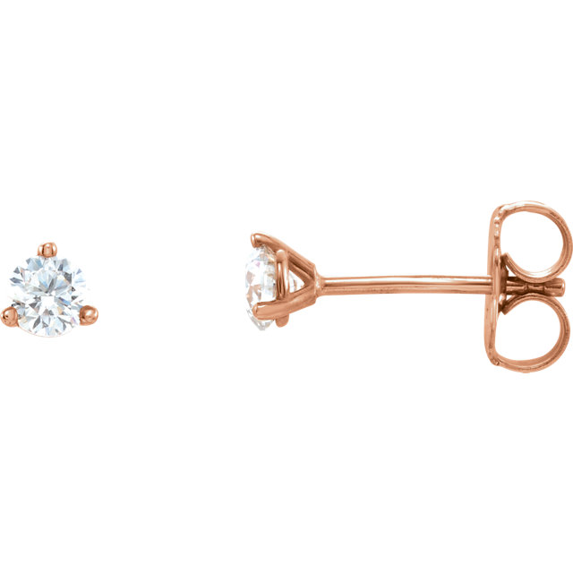 Appealing Jewelry in 14 Karat Rose Gold 0.12 Carat Diamond Stud Earrings