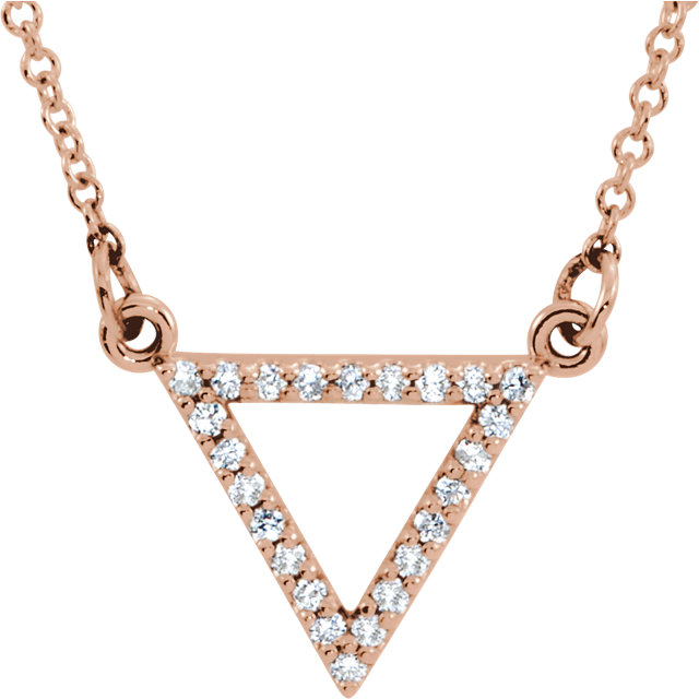 Genuine 14 Karat Rose Gold 0.12 Carat Diamond Triangle 16