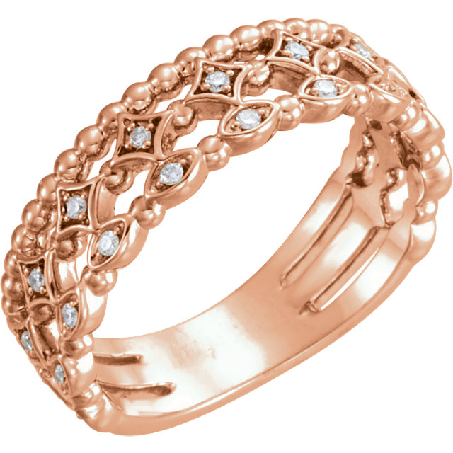 Buy Real 14 KT Rose Gold 0.12 Carat TW Stackable Diamond Ring