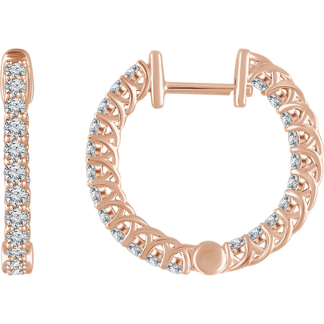 Great Gift in 14 Karat Rose Gold 1 Carat Total Weight Diamond Hoop Earrings