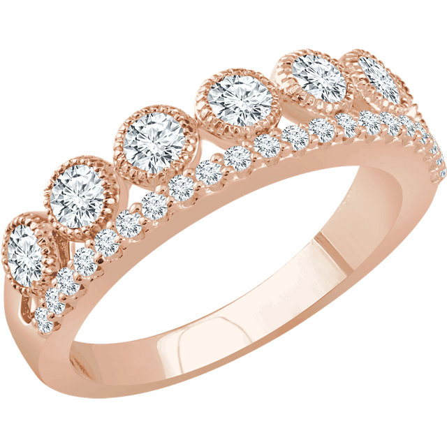 Genuine 14 KT Rose Gold 1 Carat TW Diamond Ring