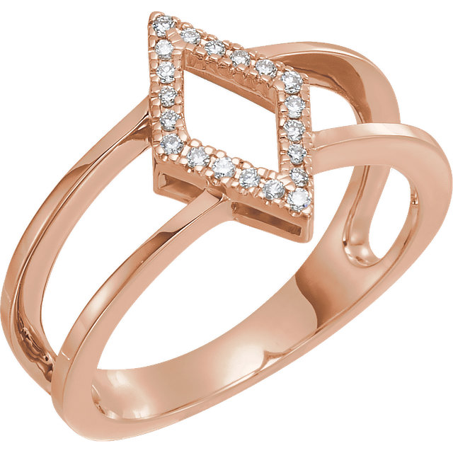 Shop 14 KT Rose Gold .10 Carat TW Geometric Diamond Ring